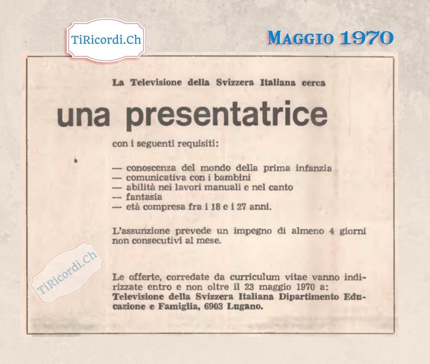 Maggio 1970: la RTSI cerca una presentatrice #50anni