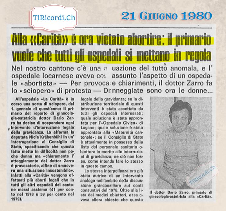 """21 Giugno 1980: """"Vietato abortire all'Ospedale"""" #40anni"""
