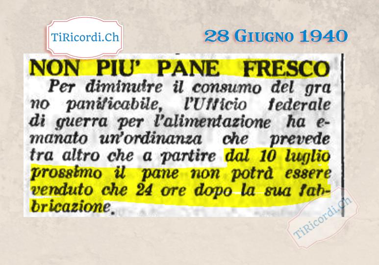 28 Giugno 1940: Il pane fresco bandito #2GM #80anni