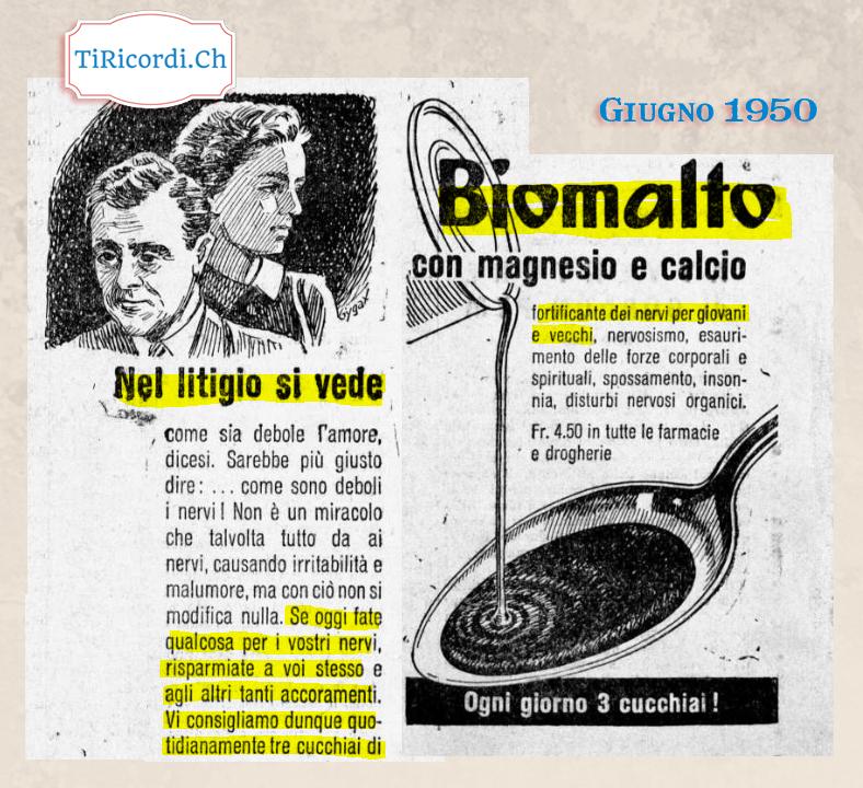 Giugno 1950: Il Biomalto per curare anche le litigate di coppia! #70anni