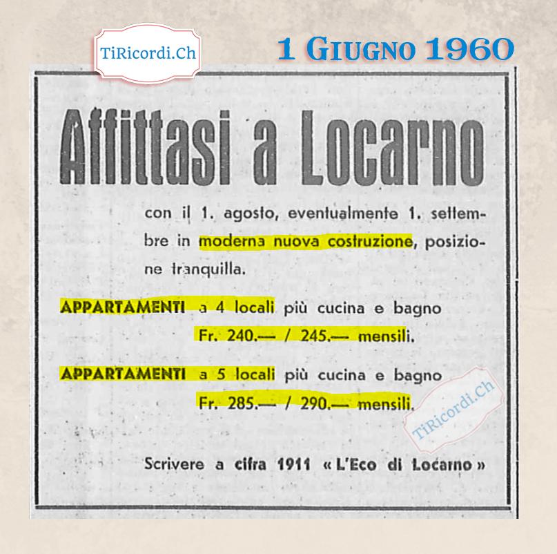 Giugno 1960: Affitti a Locarno #60anni