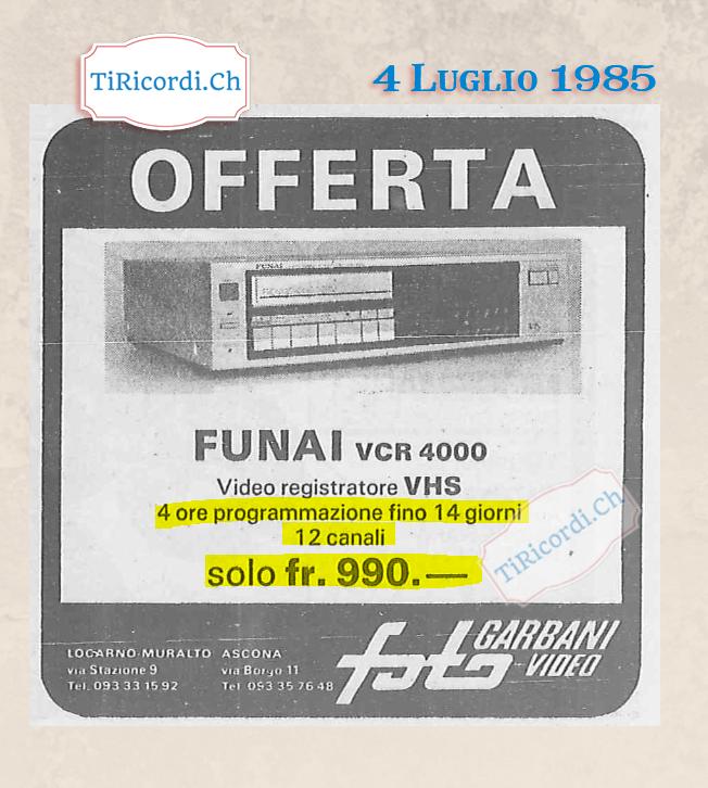 4 Luglio 1985: Videoregistratore in offerta #35anni