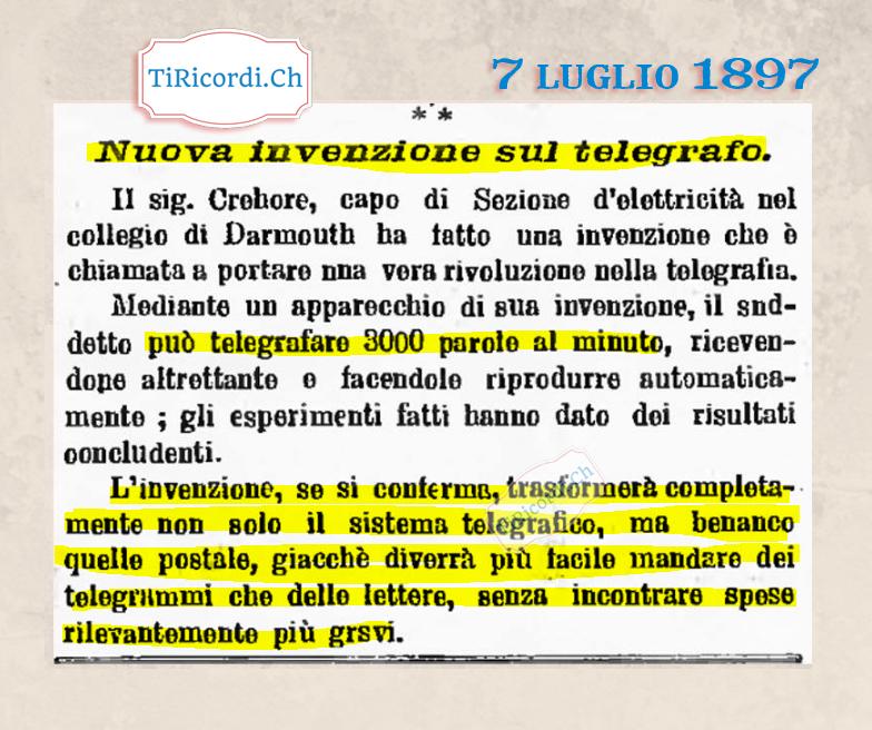 7 luglio 1897: Grande invenzione di #123 anni fa
