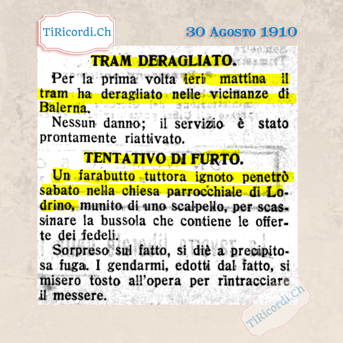 30 Agosto 1910: Breaking News di #110anni fa