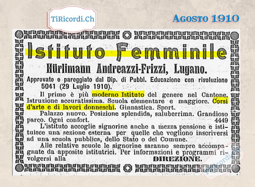 """Agosto 1910: Istituto femminile con corsi per lavori """"donneschi"""" #110anni"""