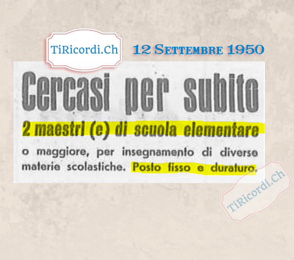 12 Settembre 1950: Cercasi maestri... #70anni fa
