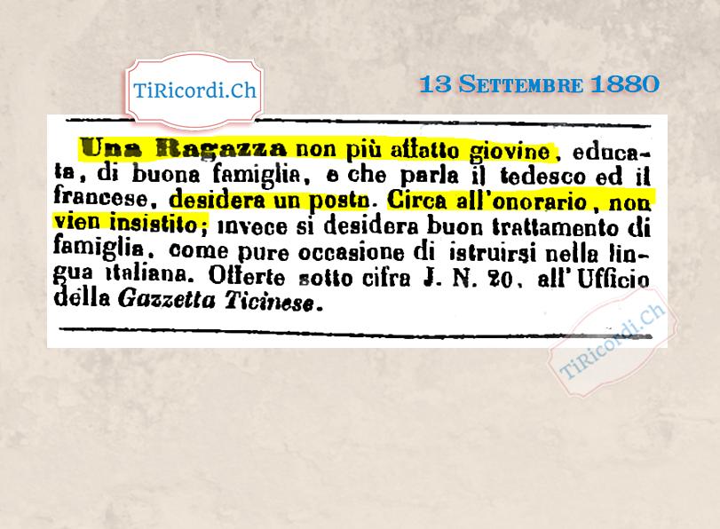"""13 Settembre 1880: Annuncio di lavoro di #140anni fa di una """"ragazza non più affatto giovine""""."""