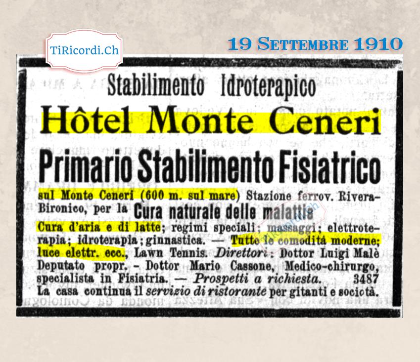 """Settembre 1910: Le tue vacanze in Ticino sul Monte Ceneri, tutte le """"comodità moderne"""" compresa l`elettricità... #110ann..."""