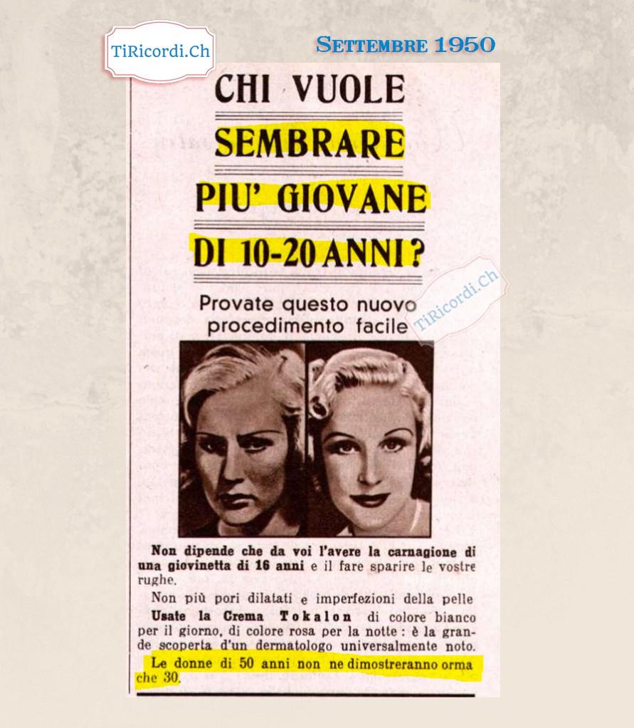 Settembre 1950: Come sembrare più giovani! pubblicità di #70anni fa.