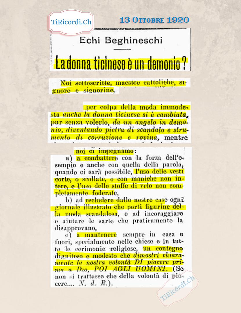 """13 Ottobre 1920: Manifesto delle donne cattoliche ticinesi contro la moda e non solo """"prima piacere a Dio, poi agli uomi..."""