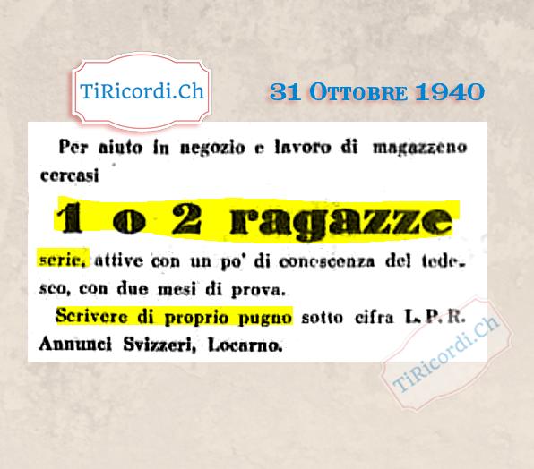 31 Ottobre 1940: Annuncio di lavoro #80anni