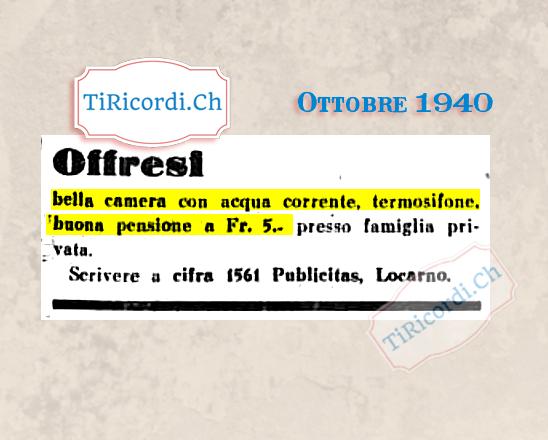 Ottobre 1940: Camera in affitto, che ne sa Airbnb! #80anni