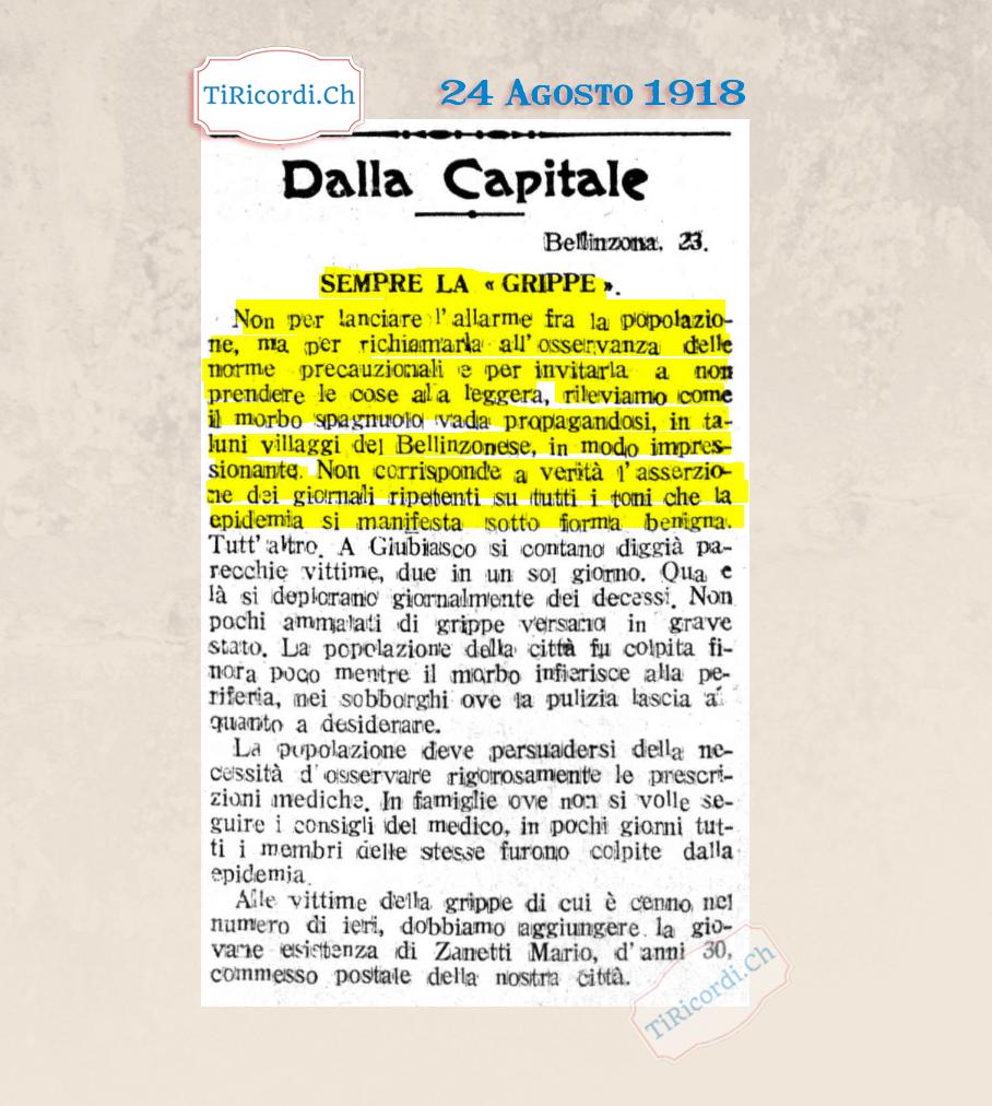 1918: Contro i giornali negazionisti ticinesi durante la seconda ondata della pandemia spagnola #102anni
