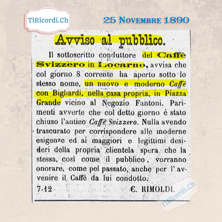 25 Novembre 1890: apertura di un nuovo caffè in Piazza Grande a Locarno #130anni Ristorante-Pizzeria Svizzero