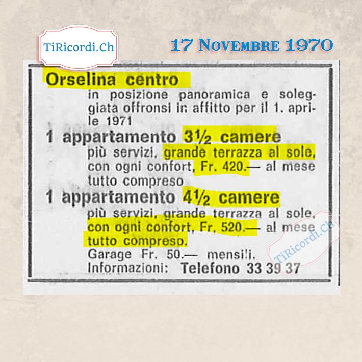 Novembre 1970: Annuncio immobiliare #50anni